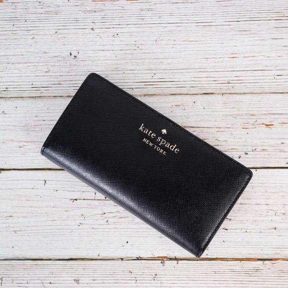 NWT Kate Spade Staci Slim Bifold Wallet in Black